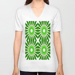 Serene Green Pinwheel Flowers Unisex V-Neck