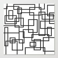 Black and White Cubical Line Art Canvas Print