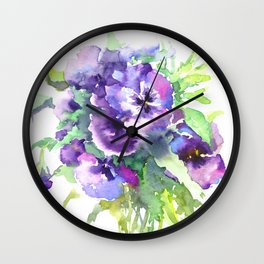 Pansy, flowers, violets Wall Clock