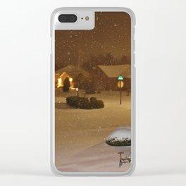 Coastal Winter Snow Storm Clear iPhone Case