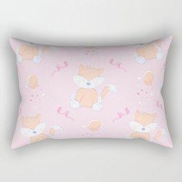 Happy Birthday Orange Fox Pink Background Pattern Rectangular Pillow