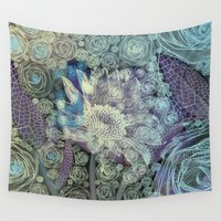 fairy tale Wall Tapestries featuring Blue fairy tale. by Mary Berg