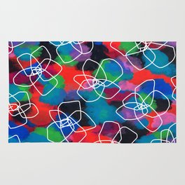 Enjoy Every Color Within You - Flower Pattern Floral Illustration Black Flower Abstract Painting Rug