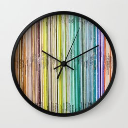 Library Music Vinyl Spines Wall Clock