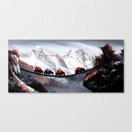 Herd Of Mountain Yaks Himalaya Canvas Print