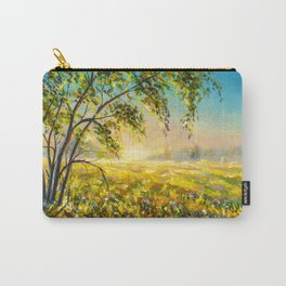 Morning gentle foggy rural landscape painting. Painting by Valery Rybakou Carry-All Pouch