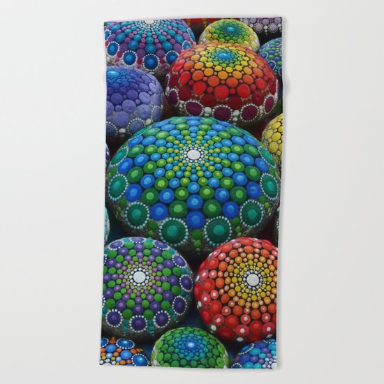 Jewel Drop Mandala Stone Collection #1 Beach Towel