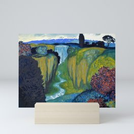 Floral Garden Landscape with Waterfall by Franz von Stuck Mini Art Print