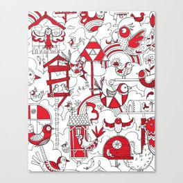 Birdhouse (black, white and red) Canvas Print