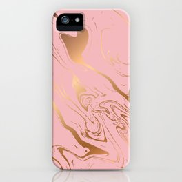 Pink Gold Liquid Marble iPhone Case
