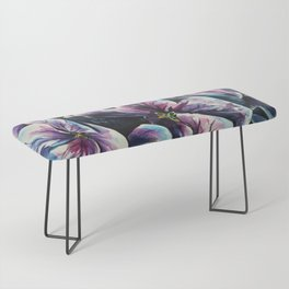 purple flowers watercolor art Bench