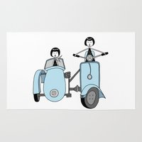 vespa Area & Throw Rugs featuring Vespa by flapper doodle