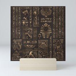 Egyptian hieroglyphs and deities - gold on wood Mini Art Print