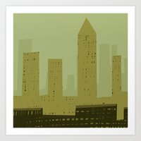 metropolis Art Prints featuring Metropolis by James Percy Illustration