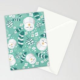 Minty Fresh Owls Stationery Cards