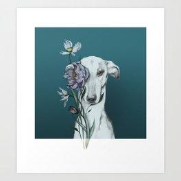 Greyhound Floro blue Art Print