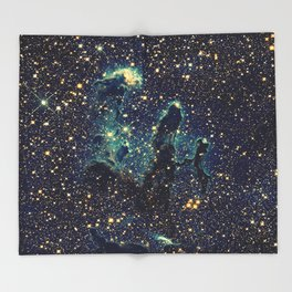 Pillars of Creation GalaxY  Teal Blue & Gold Throw Blanket