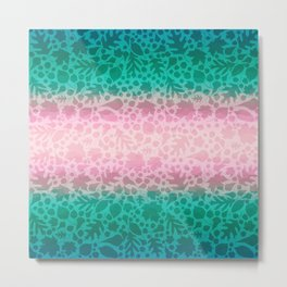 Pastel Pink and Green Fallen Leaves Leaf Pattern 1 Metal Print