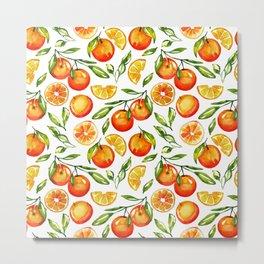 orange print citrus oranges watercolor Metal Print