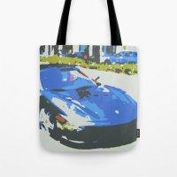 ferrari Tote Bags featuring Chrome Ferrari by James Eye