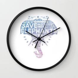Save Elephants - Watercolor Word Cloud Elephant Silhouette Wall Clock