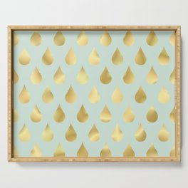 Golden Yellow Raindrops on Sage Green Background Serving Tray