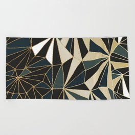 New Art Deco Geometric Pattern - Emerald green and Gold Beach Towel
