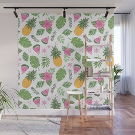 Tropical Summer on white Wall Mural