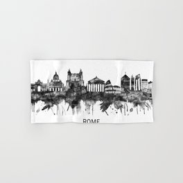 Rome Italy Skyline BW Hand & Bath Towel