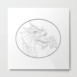 Dragon Fire Circle Drawing Metal Print
