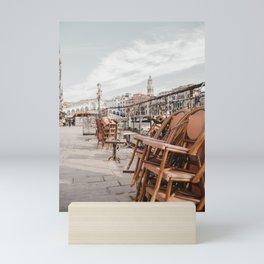 Stacked Pink Bamboo Chairs of Venice Promenade   Dreamy Italian travel photography Saige Ashton Prints Mini Art Print
