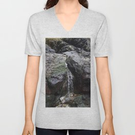 Cornish Waterfall Over Mossy Cliff Unisex V-Neck