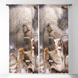 Cat Llama - Llama Rain Dance With Cats Blackout Curtain
