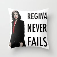 regina mills Throw Pillows featuring Regina never fails by Geek World