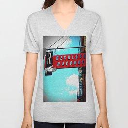 Reckless Records ~ chicago sign Unisex V-Neck