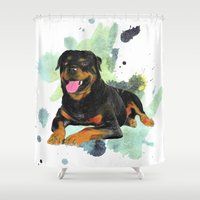 rottweiler Shower Curtains featuring Rottweiler happy by Cami Landia