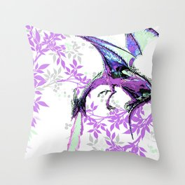 DRAGON AND PURPLE LEAVES Throw Pillow