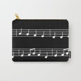 Sheet Music White Notes on Black Background Carry-All Pouch