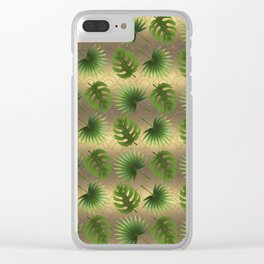 Tropical Leaves Gold Great Gatsby Clear iPhone Case