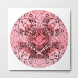 Fractal Orb Mandala Rose Metal Print