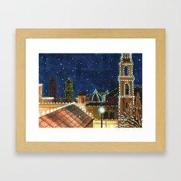 Plaza: Snowy Framed Art Print
