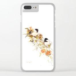 Chickadee bird art, design, chickadees artwork Clear iPhone Case