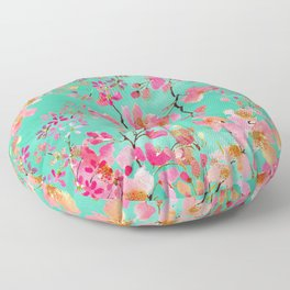 Elegant hand paint watercolor spring floral Floor Pillow