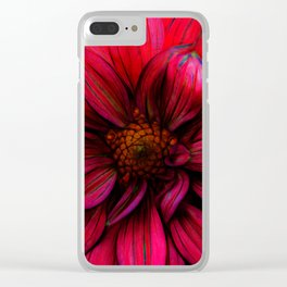Red Flower Glow Clear iPhone Case