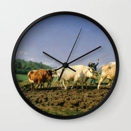 Rosa Bonheur - Plowing Nivernais - Digital Remastered Edition Wall Clock