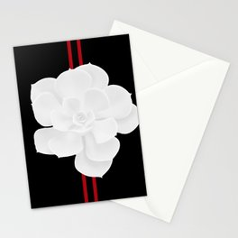 White Succulent On Black #decor #society6 #buyart Stationery Cards