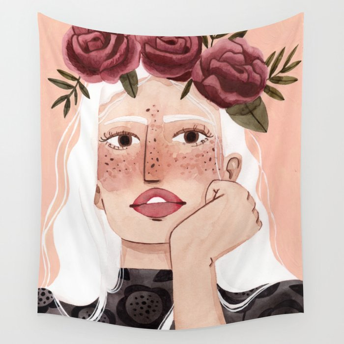Floral wreath Wall Tapestry