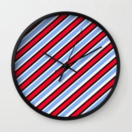 TEAM COLORS 1…Red white Light blue diagonal stripe Wall Clock