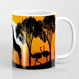 Giraffe silhouettes at sunset Coffee Mug