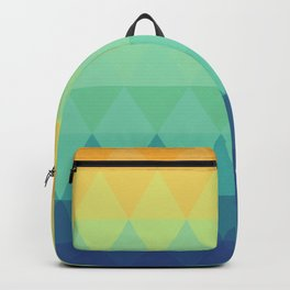 Retro orange yellow mint green teal blue turquoise triangles nordic geometric pattern Backpack